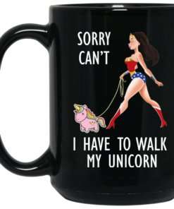 image 3 247x296px Wonder Woman Sorry Cant I Have Walk My Unicorn Coffee Mug