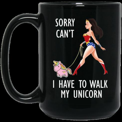 image 3 490x490px Wonder Woman Sorry Cant I Have Walk My Unicorn Coffee Mug