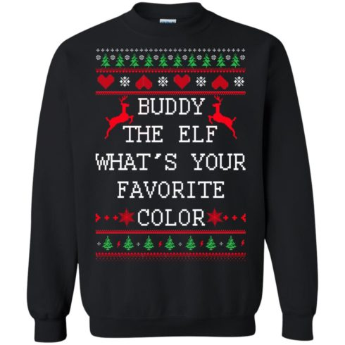 image 581 490x490px Buddy The Elf What's Your Favorite Color Christmas Sweater