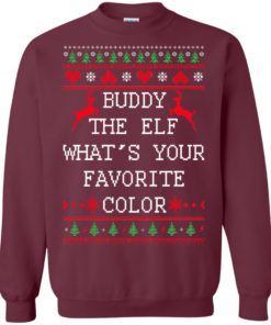 image 582 247x296px Buddy The Elf What's Your Favorite Color Christmas Sweater