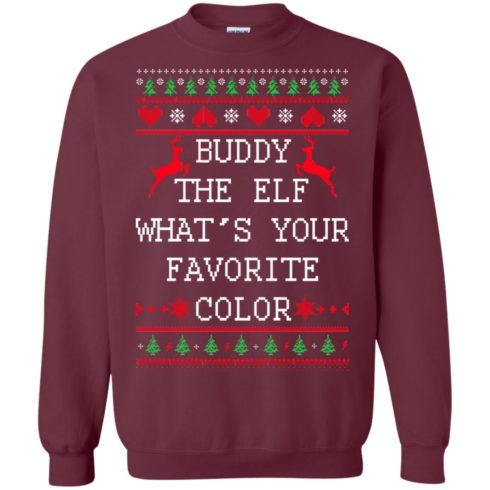 image 582 490x490px Buddy The Elf What's Your Favorite Color Christmas Sweater