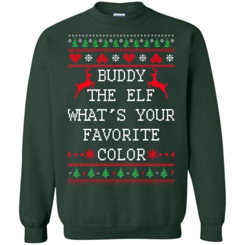 image 584 490x490px Buddy The Elf What's Your Favorite Color Christmas Sweater