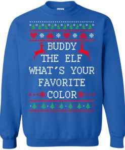 image 585 247x296px Buddy The Elf What's Your Favorite Color Christmas Sweater