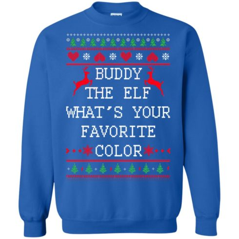 image 585 490x490px Buddy The Elf What's Your Favorite Color Christmas Sweater
