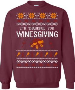 image 594 247x296px I'm Thankful For Winesgiving Thankgiving Sweater