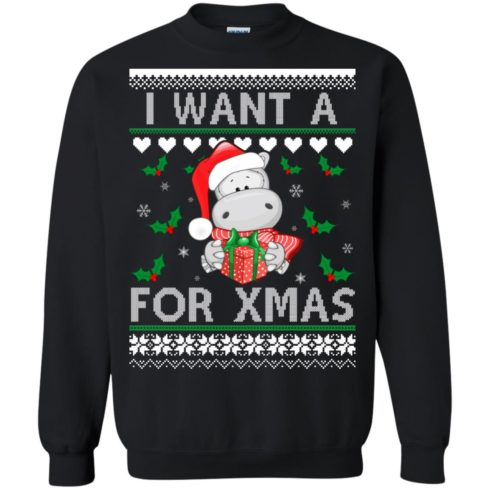 image 605 490x490px I want a Hippopotamus for Christmas Sweater