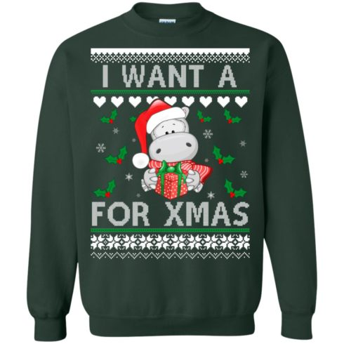 image 608 490x490px I want a Hippopotamus for Christmas Sweater