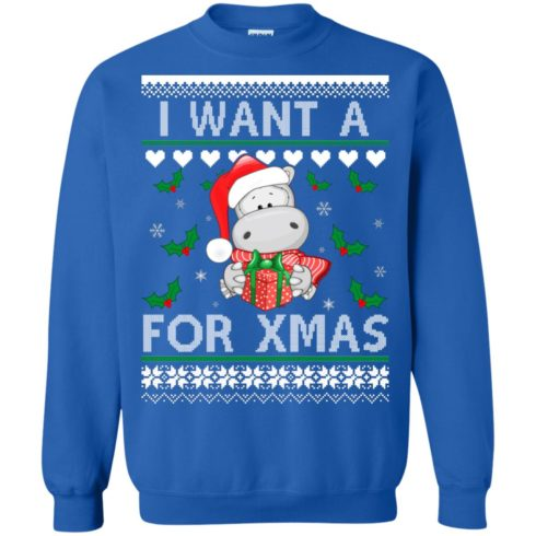 image 609 490x490px I want a Hippopotamus for Christmas Sweater