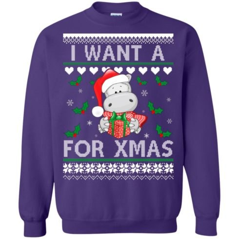 image 610 490x490px I want a Hippopotamus for Christmas Sweater
