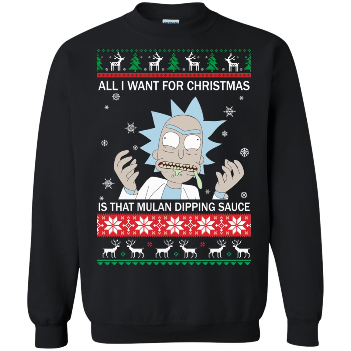 image 681px Rick and Morty Sweater All I Want For Christmas Is That Mulan Dipping Sauce Shirt