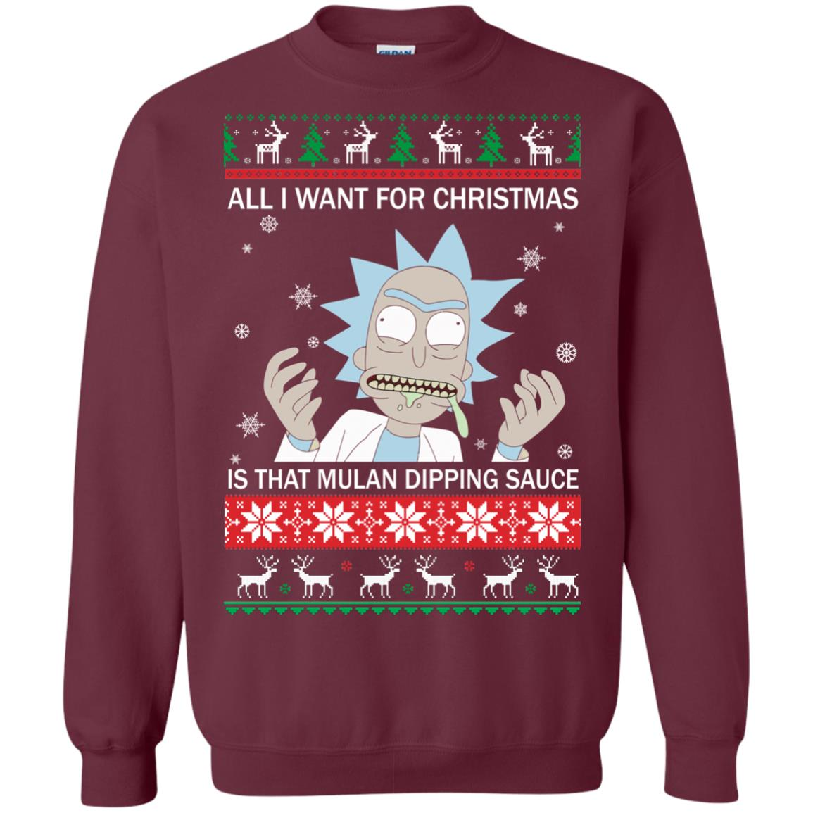 image 682px Rick and Morty Sweater All I Want For Christmas Is That Mulan Dipping Sauce Shirt
