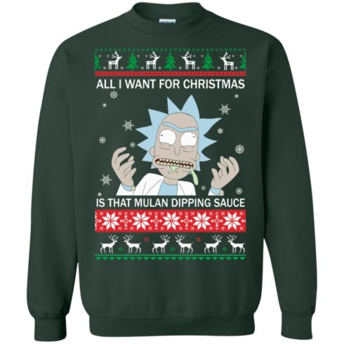 image 684 490x490px Rick and Morty Sweater All I Want For Christmas Is That Mulan Dipping Sauce Shirt