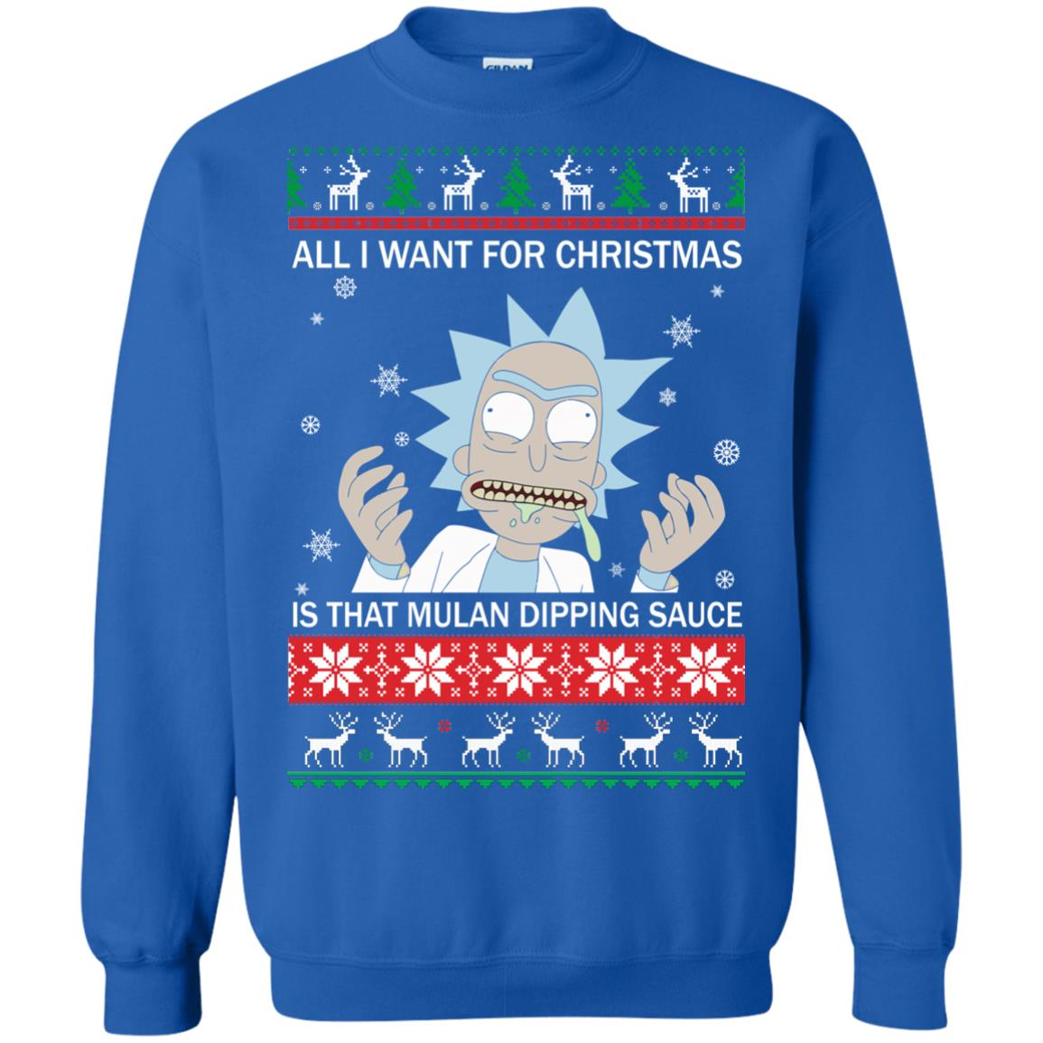 image 685px Rick and Morty Sweater All I Want For Christmas Is That Mulan Dipping Sauce Shirt
