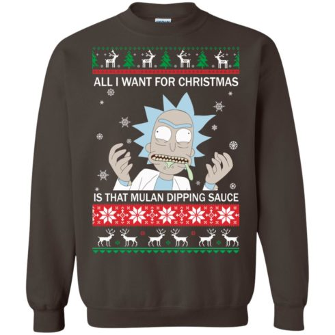 image 686 490x490px Rick and Morty Sweater All I Want For Christmas Is That Mulan Dipping Sauce Shirt