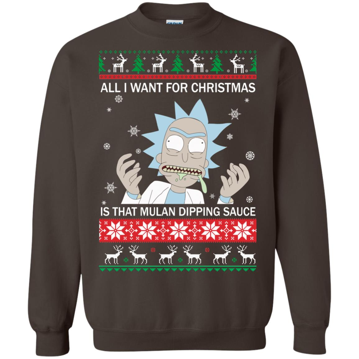 image 686px Rick and Morty Sweater All I Want For Christmas Is That Mulan Dipping Sauce Shirt