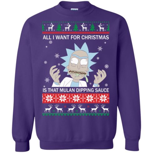 image 687 490x490px Rick and Morty Sweater All I Want For Christmas Is That Mulan Dipping Sauce Shirt