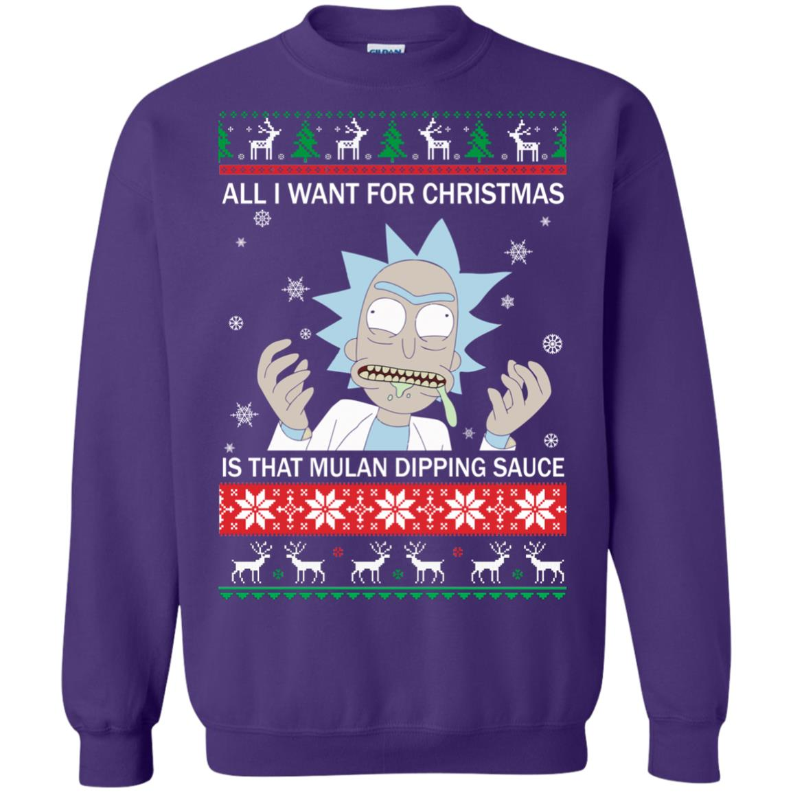 image 687px Rick and Morty Sweater All I Want For Christmas Is That Mulan Dipping Sauce Shirt