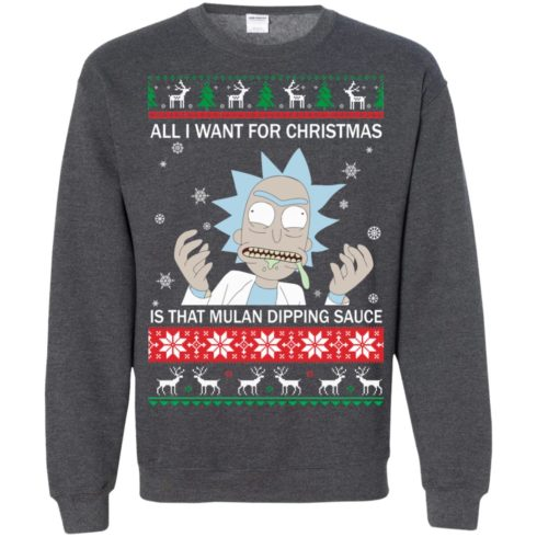 image 688 490x490px Rick and Morty Sweater All I Want For Christmas Is That Mulan Dipping Sauce Shirt