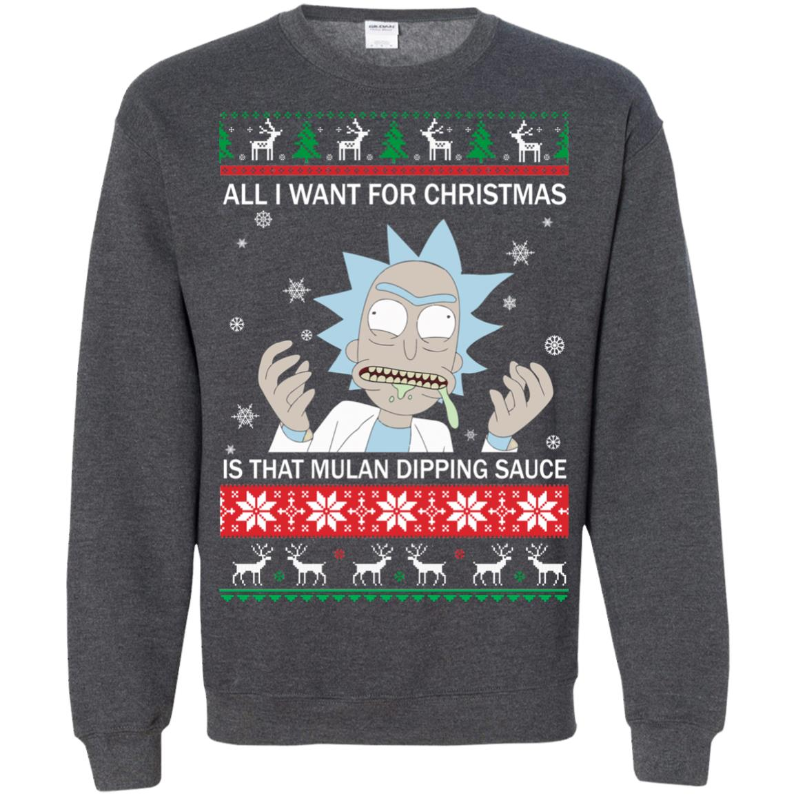 image 688px Rick and Morty Sweater All I Want For Christmas Is That Mulan Dipping Sauce Shirt
