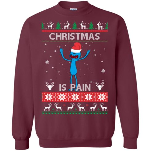 image 698 490x490px Mr Meeseeks Christmas Is Pain Rick and Morty Christmas Sweater