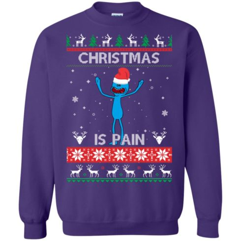 image 703 490x490px Mr Meeseeks Christmas Is Pain Rick and Morty Christmas Sweater