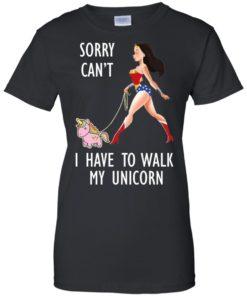 image 74 247x296px Wonder Woman: Sorry Can't I Have Walk My Unicorn T Shirts, Hoodies, Tank