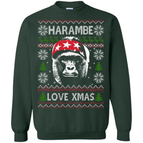 image 868 490x490px Harambe Love Xmas Christmas Sweater