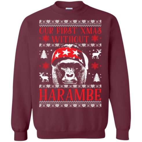 image 874 490x490px Our First Xmas Without Harambe Christmas Sweater