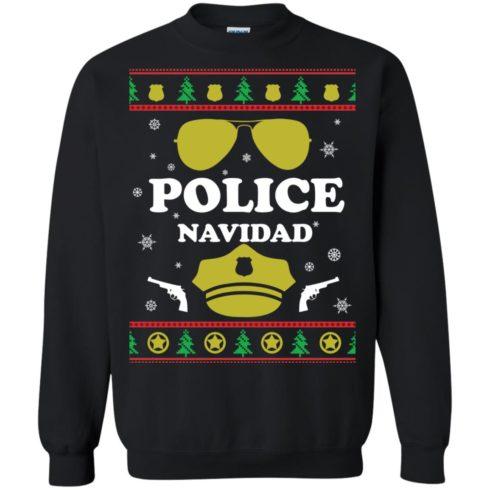 image 95 490x490px Police Navidad Christmas Sweater, Long Sleeve