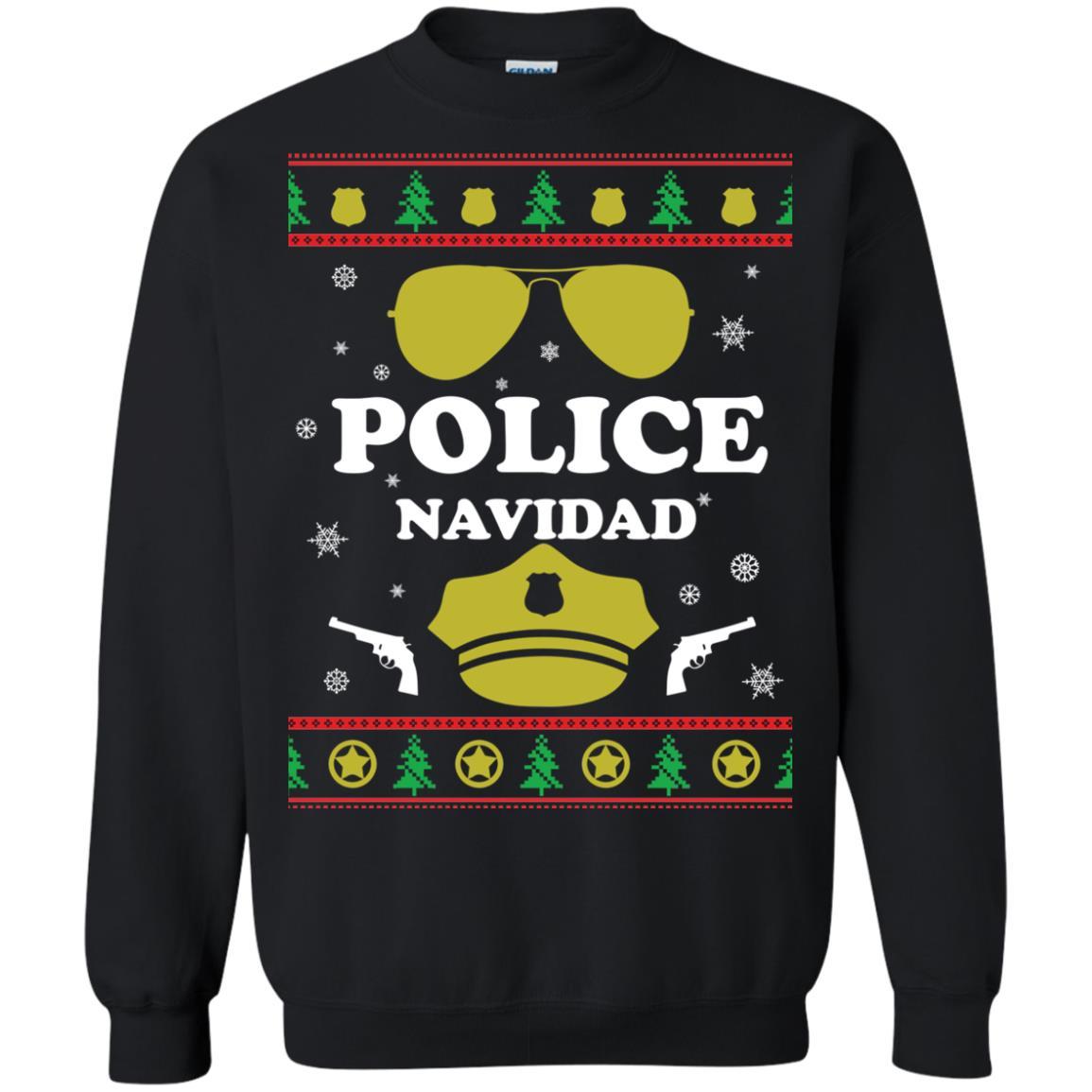 image 95px Police Navidad Christmas Sweater, Long Sleeve