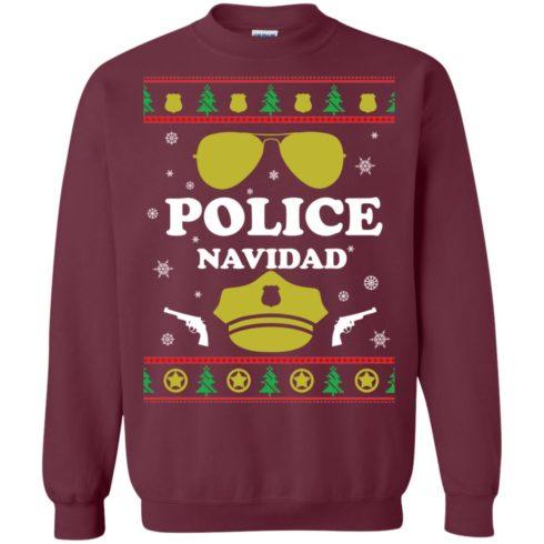 image 96 490x490px Police Navidad Christmas Sweater, Long Sleeve