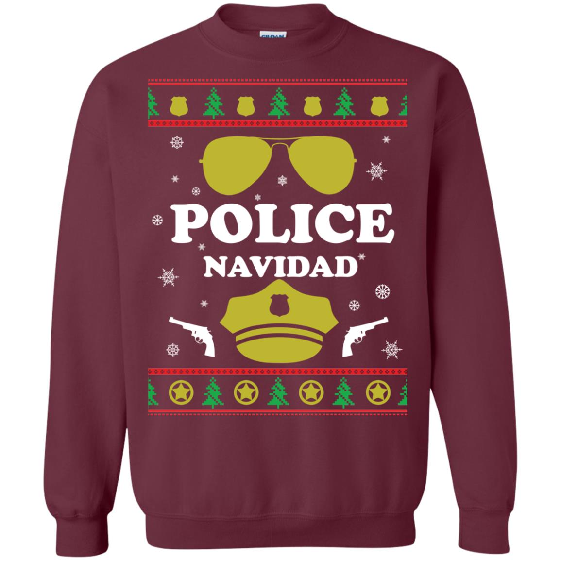 image 96px Police Navidad Christmas Sweater, Long Sleeve