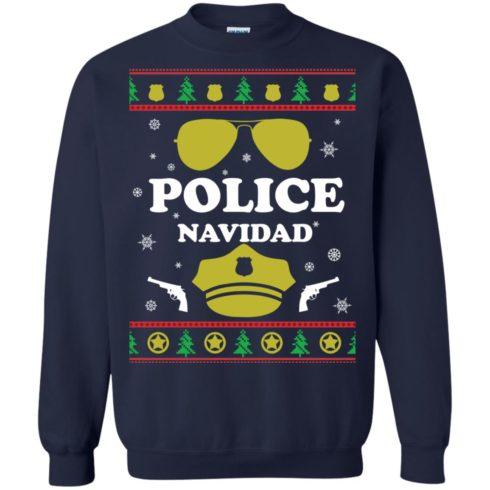 image 97 490x490px Police Navidad Christmas Sweater, Long Sleeve