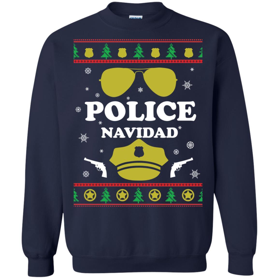 image 97px Police Navidad Christmas Sweater, Long Sleeve