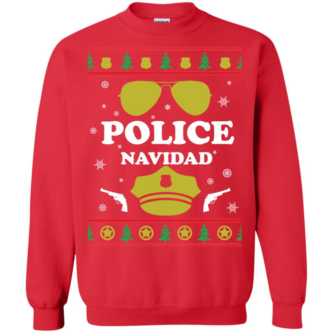 image 98px Police Navidad Christmas Sweater, Long Sleeve