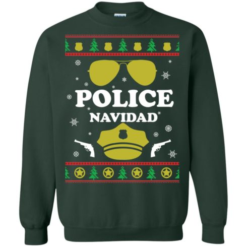 image 99 490x490px Police Navidad Christmas Sweater, Long Sleeve