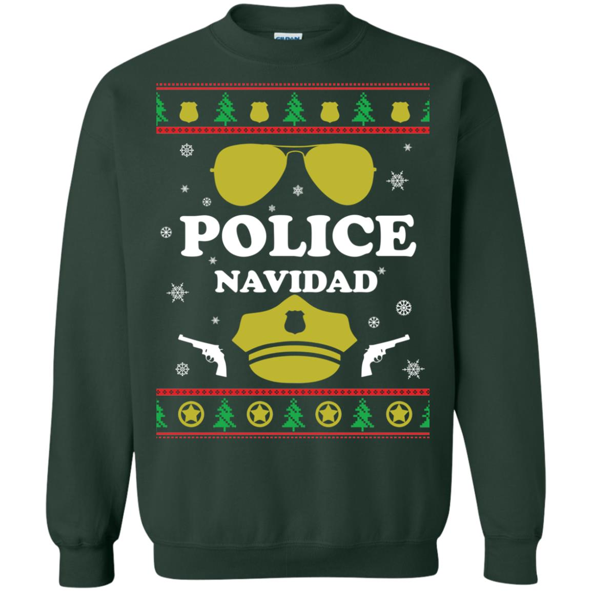 image 99px Police Navidad Christmas Sweater, Long Sleeve