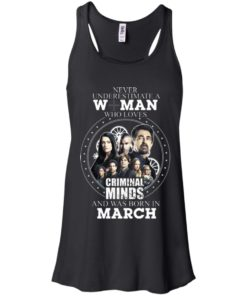 image 298 247x296px Never Underestimate A Woman Who Loves Criminal Minds And Was Born In March T Shirt