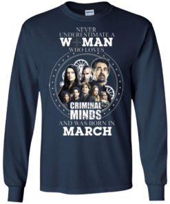 image 301 247x296px Never Underestimate A Woman Who Loves Criminal Minds And Was Born In March T Shirt