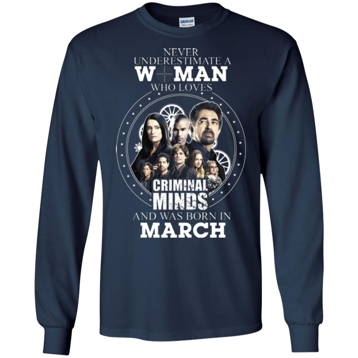 image 301px Never Underestimate A Woman Who Loves Criminal Minds And Was Born In March T Shirt