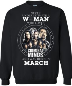 image 304 247x296px Never Underestimate A Woman Who Loves Criminal Minds And Was Born In March T Shirt