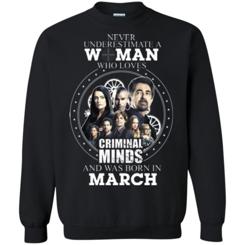 image 304 490x490px Never Underestimate A Woman Who Loves Criminal Minds And Was Born In March T Shirt
