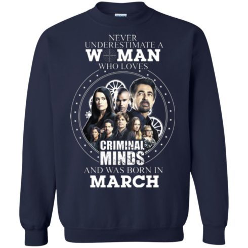 image 305 490x490px Never Underestimate A Woman Who Loves Criminal Minds And Was Born In March T Shirt
