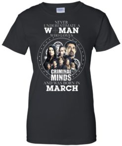 image 306 247x296px Never Underestimate A Woman Who Loves Criminal Minds And Was Born In March T Shirt