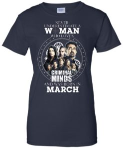 image 307 247x296px Never Underestimate A Woman Who Loves Criminal Minds And Was Born In March T Shirt