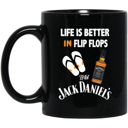 image 4 490x490px Life Is Better In Flip Flops With Jack Daniel's Coffee Mug