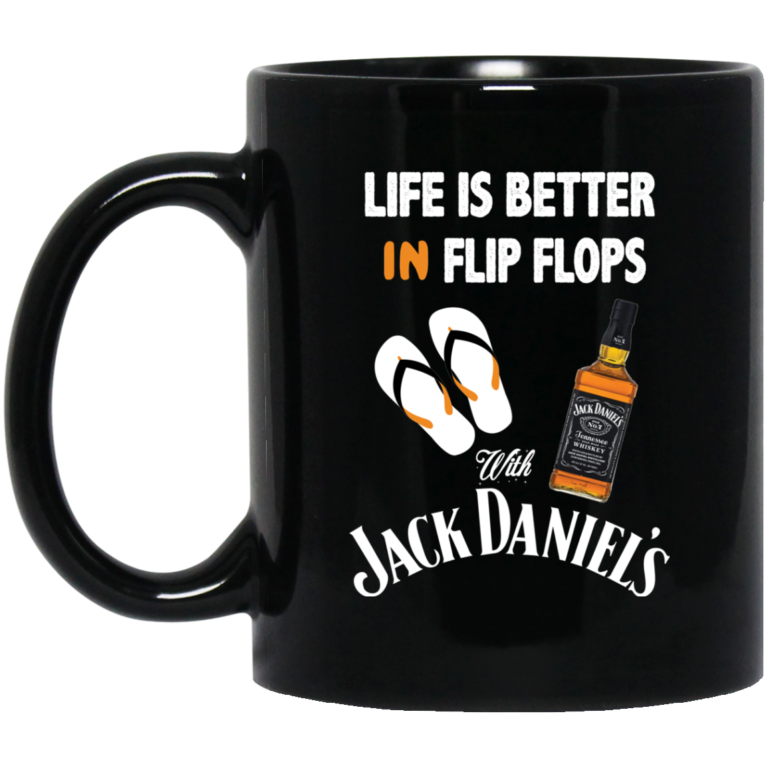 image 4 768x768px Life Is Better In Flip Flops With Jack Daniel's Coffee Mug