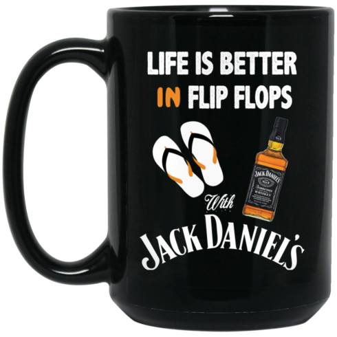 image 5 490x490px Life Is Better In Flip Flops With Jack Daniel's Coffee Mug