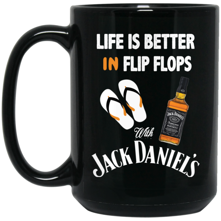image 5 768x768px Life Is Better In Flip Flops With Jack Daniel's Coffee Mug