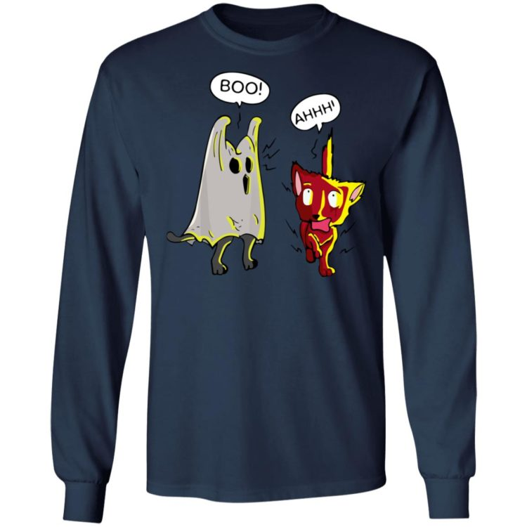 redirect 1435 750x750px Boo Cute Cat Ghost Scares Another Cat Holloween Shirt